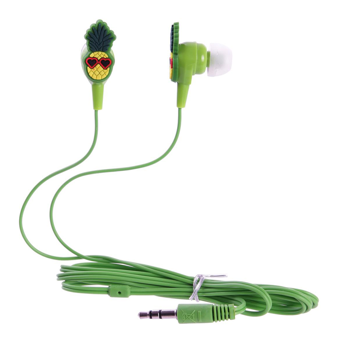 Ecouteurs \'Tropical\' jaune vert (ananas) - [Q8116]