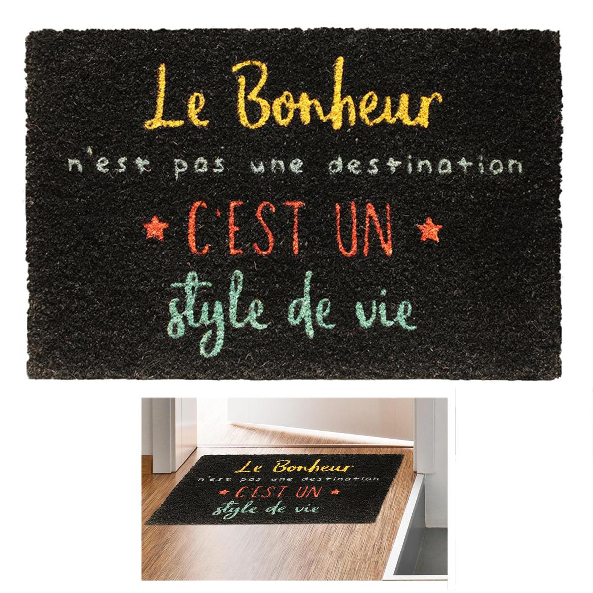 Paillasson paille \'Messages\' noir (Le Bonheur n\'est pas une destination, c\'est un style de vie) - 60x40 cm - [Q8137]