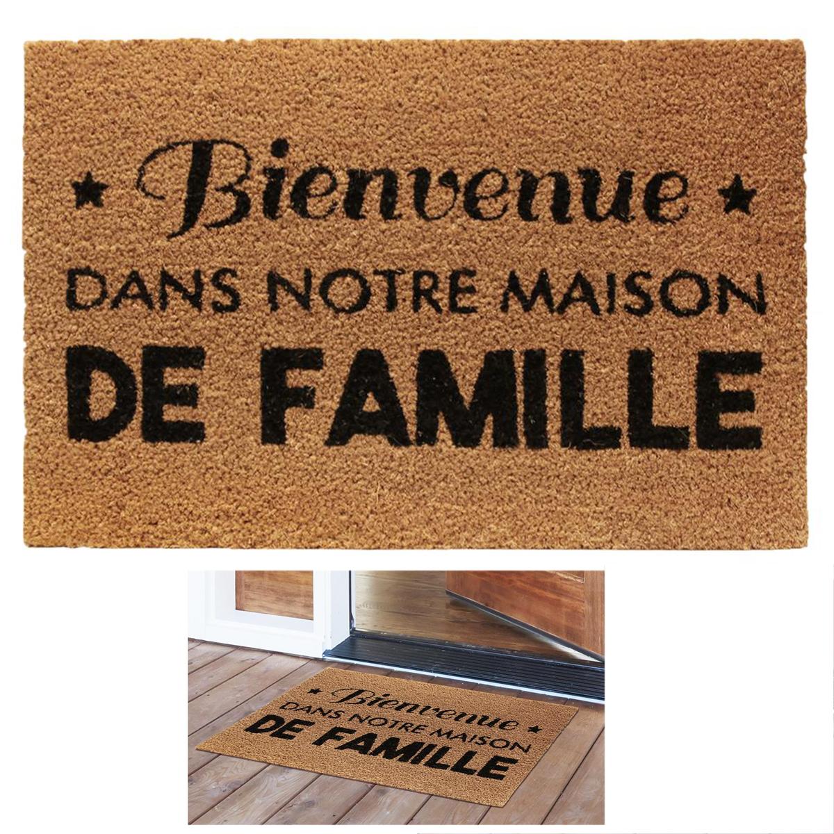 Paillasson paille \'Messages\' marron (Bienvenue dans notre maison de Famille) - 60x40 cm - [Q8139]