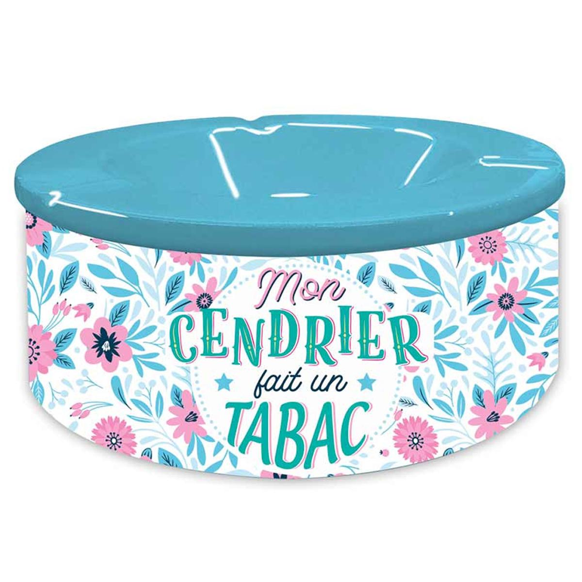 Cendrier marocain céramique \'Messages\' bleu rose (Mon cendrier fait un tabac) - 20x7 cm - [Q8339]