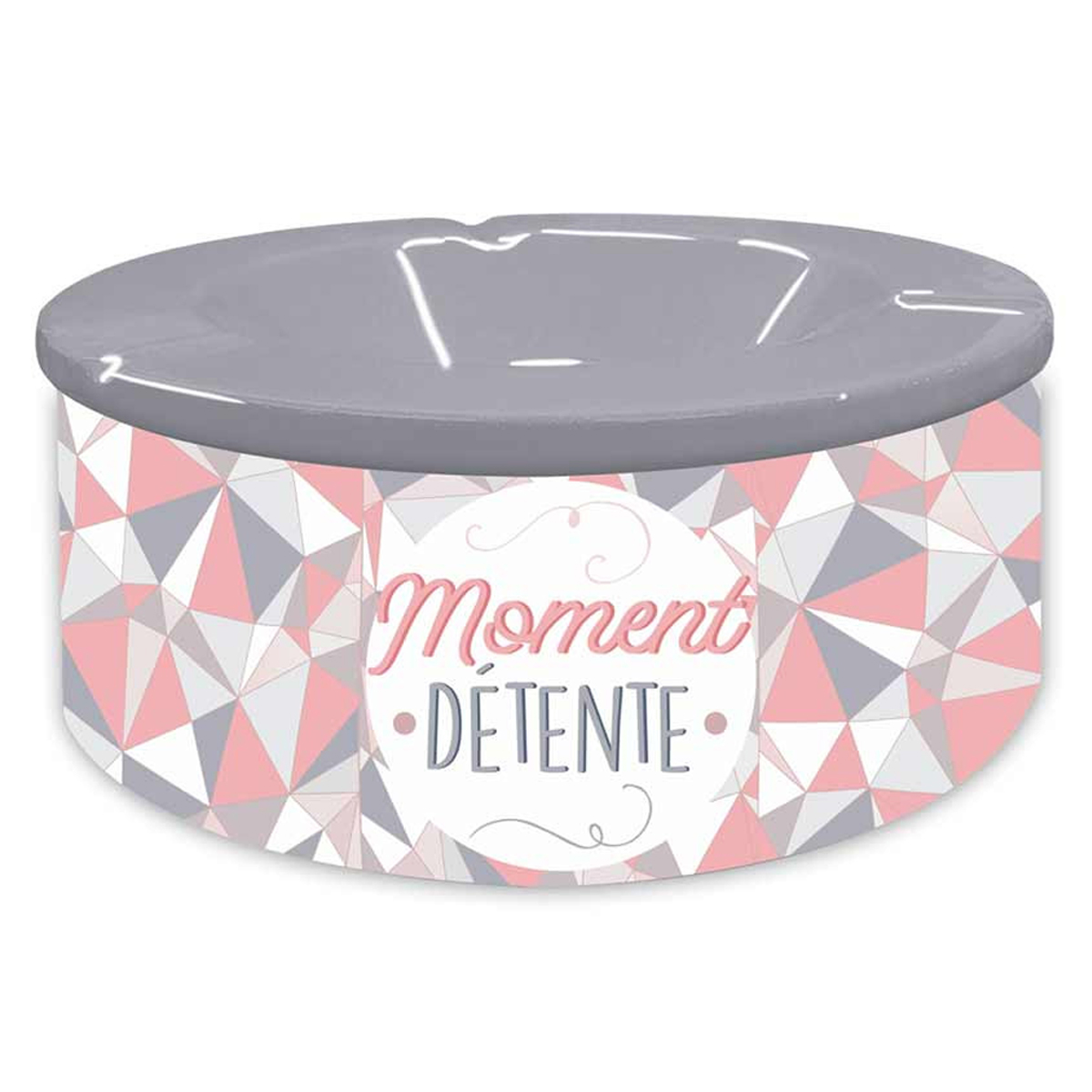 Cendrier marocain céramique \'Messages\' gris rose (Moment Détente) - 20x7 cm - [Q8340]