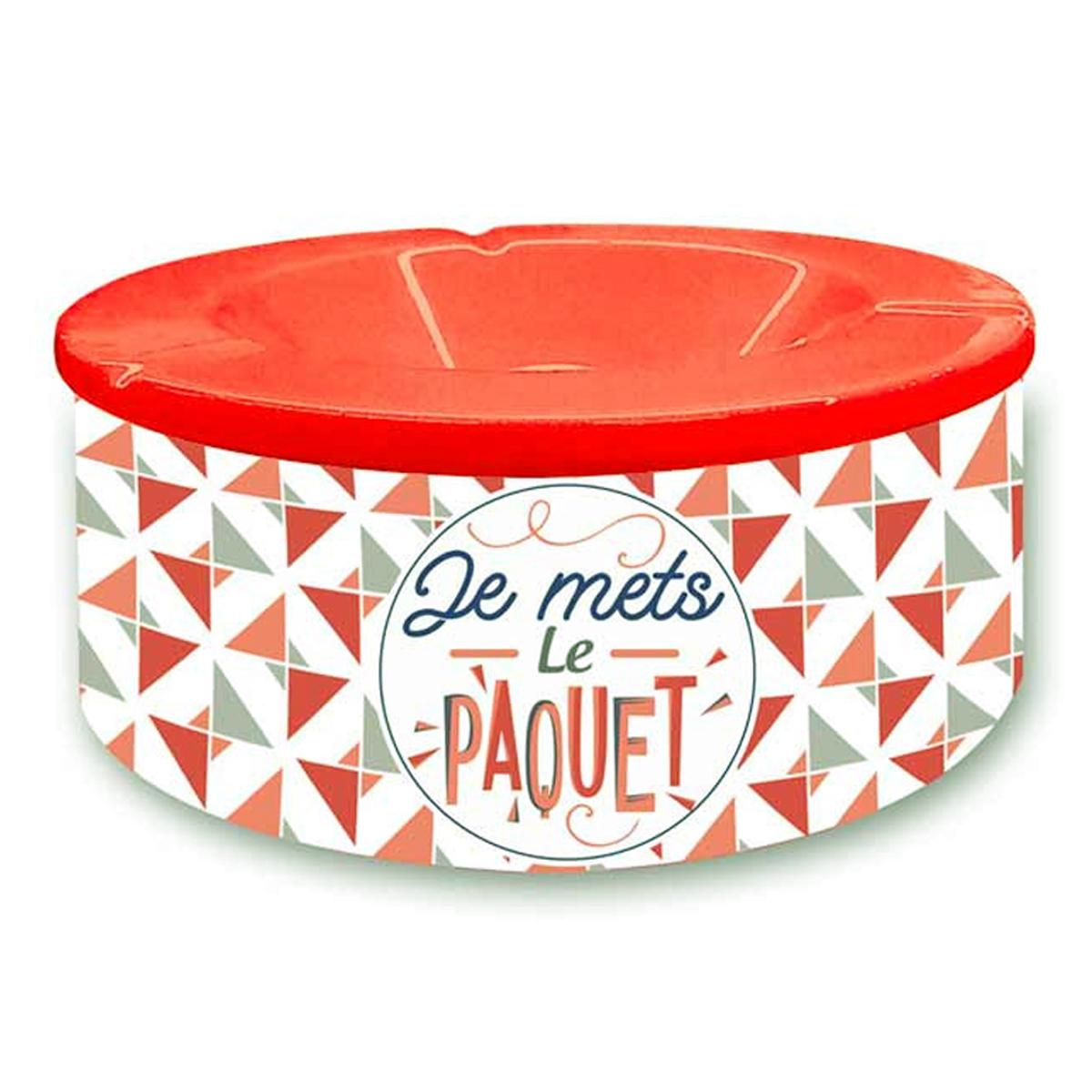 Cendrier marocain céramique \'Messages\' orange gris (Je mets le Paquet) - 10x7 cm - [Q8343]