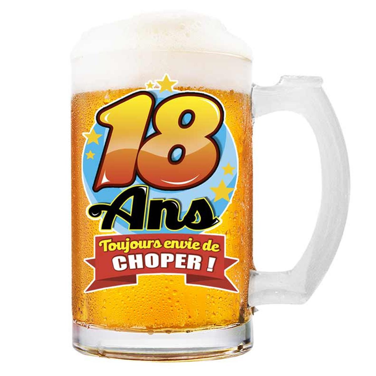Chope à bière \'18 ans\' (Toujours envie de Choper !)  - 145x75 cm - [Q8389]