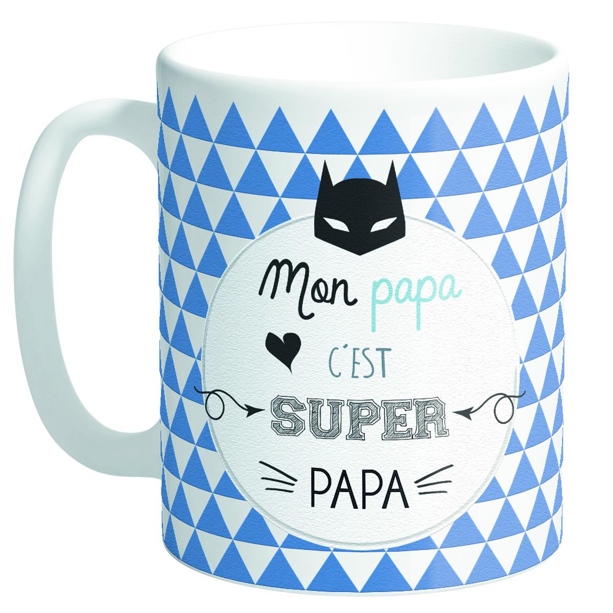 Mug tendresse \'Messages\' (Mon papa c\'est Super Papa) - 95x80 mm - [Q8492]