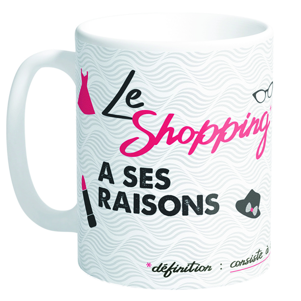Mug tendresse \'Messages\' (Le Shopping a ses raisons) - 95x80 mm - [Q8503]