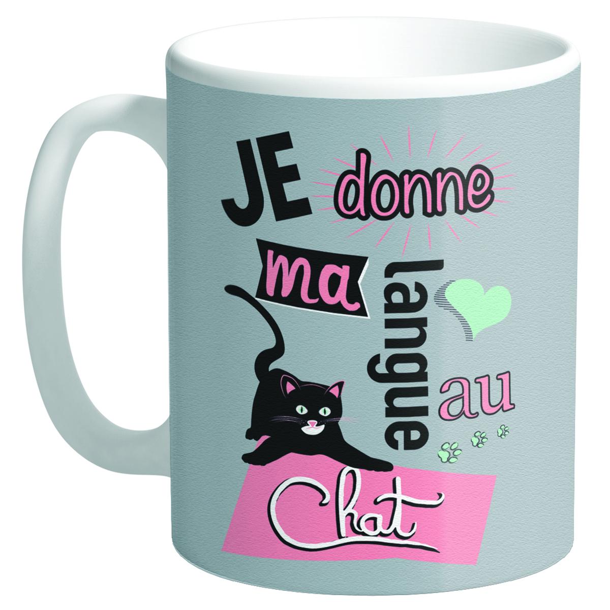 Mug tendresse \'Messages\' taupe (Je donne ma langue au Chat) - 95x80 mm - [Q8504]