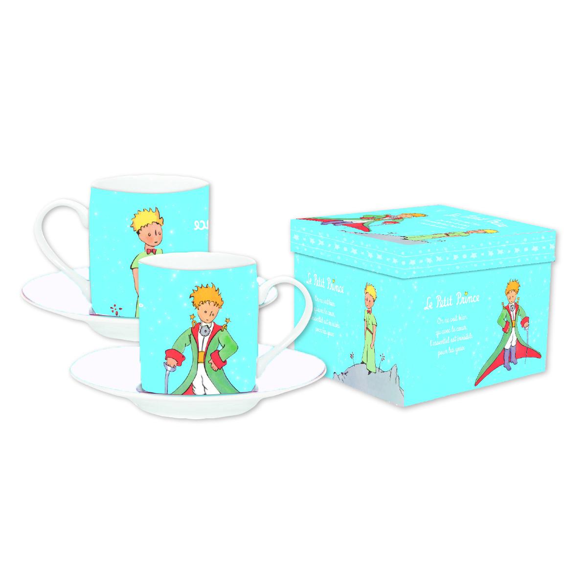 Coffret 2 tasses à café \'Le Petit Prince\' bleu ciel - tasse 6x5 cm - [Q8509]
