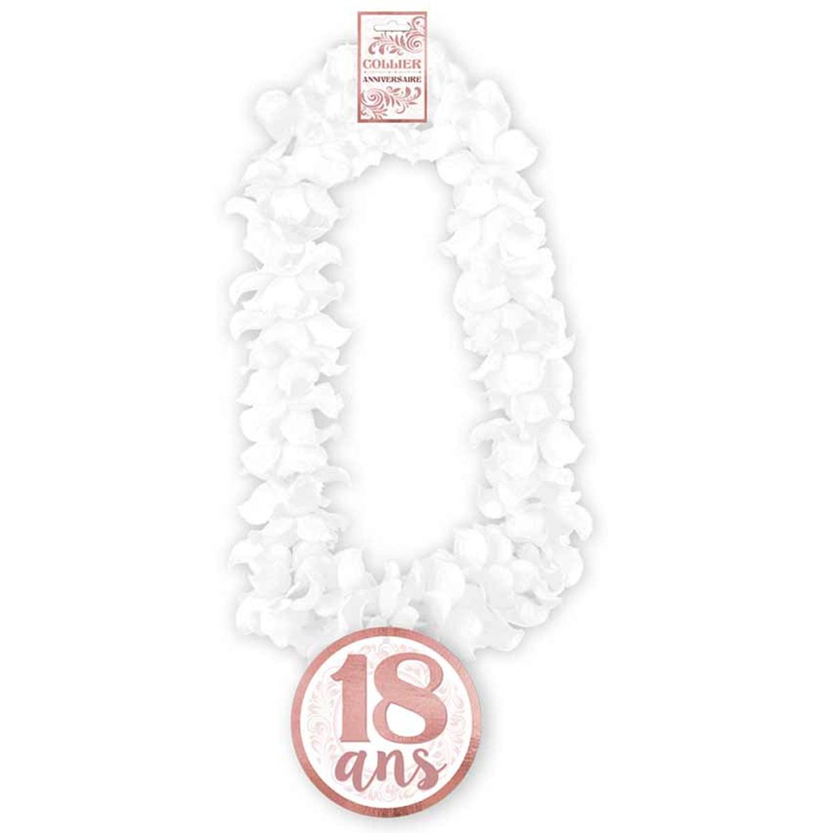 Collier de fleurs Anniversaire \'18 ans\' blanc - 50 cm - [Q8515]