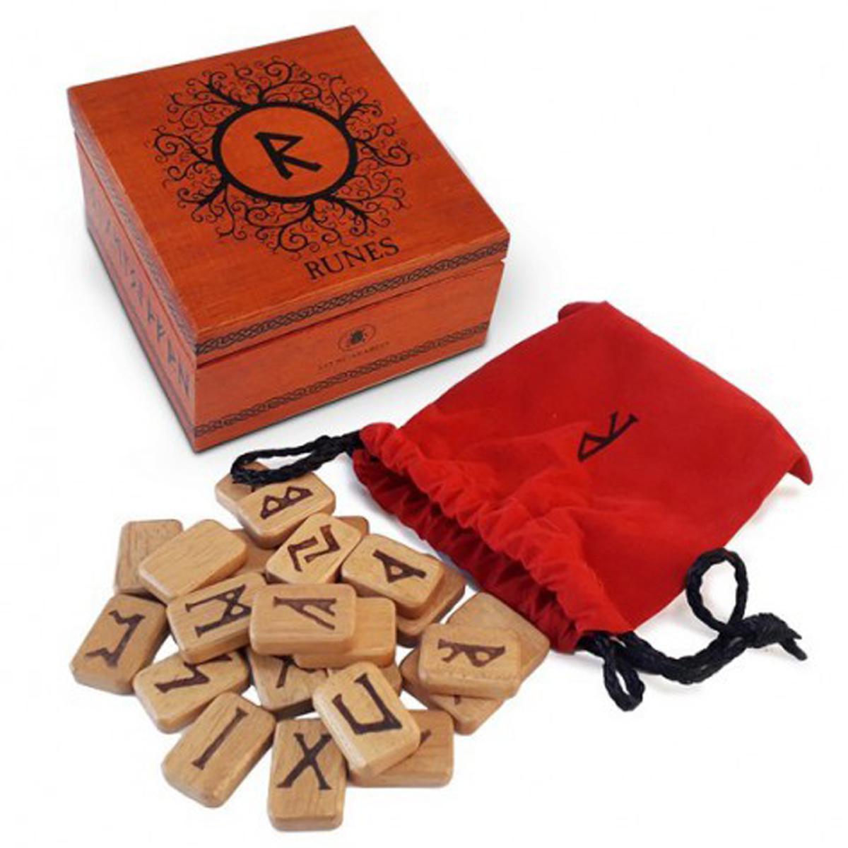 Coffret \'Runes\' wooden deluxe - 11x11x68 cm - [Q8699]