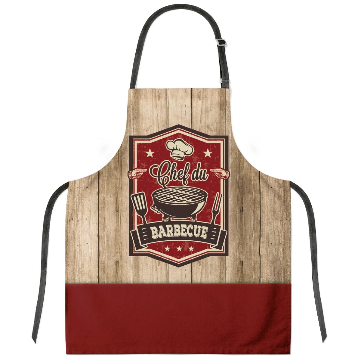 Tablier créateur coton \'Chef du Barbecue\' marron rouge- 79x70 cm - [Q8711]