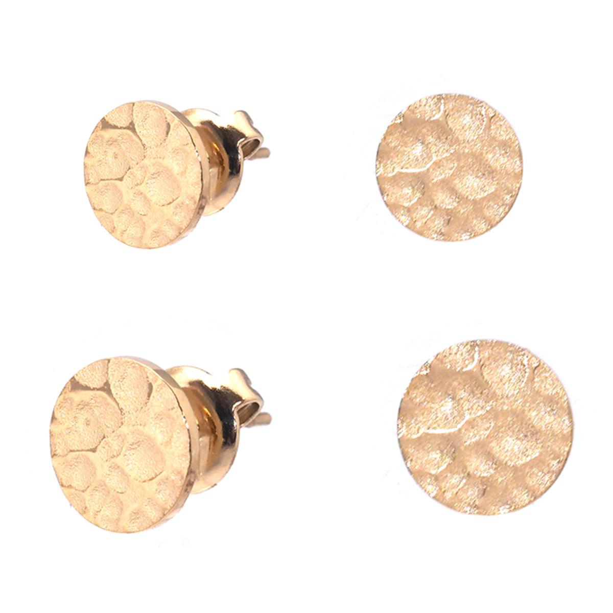 2 paires de boucles Acier \'Cléopatra\' doré - 6 et 8 mm - [Q8729]