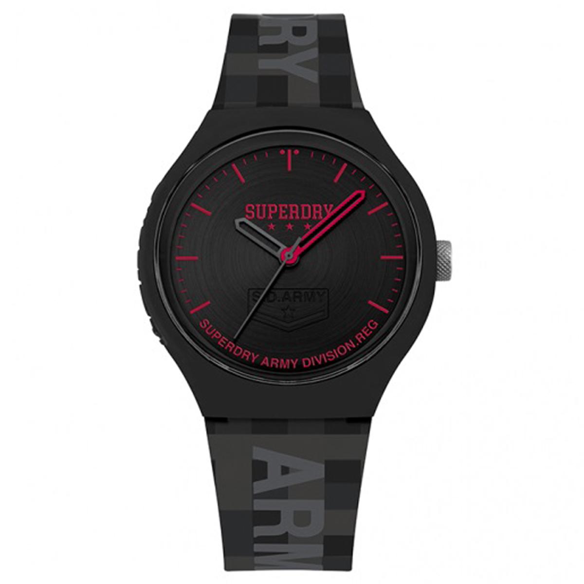 Montre silicone \'Superdry\' noir rouge - 45 mm - [Q8791]