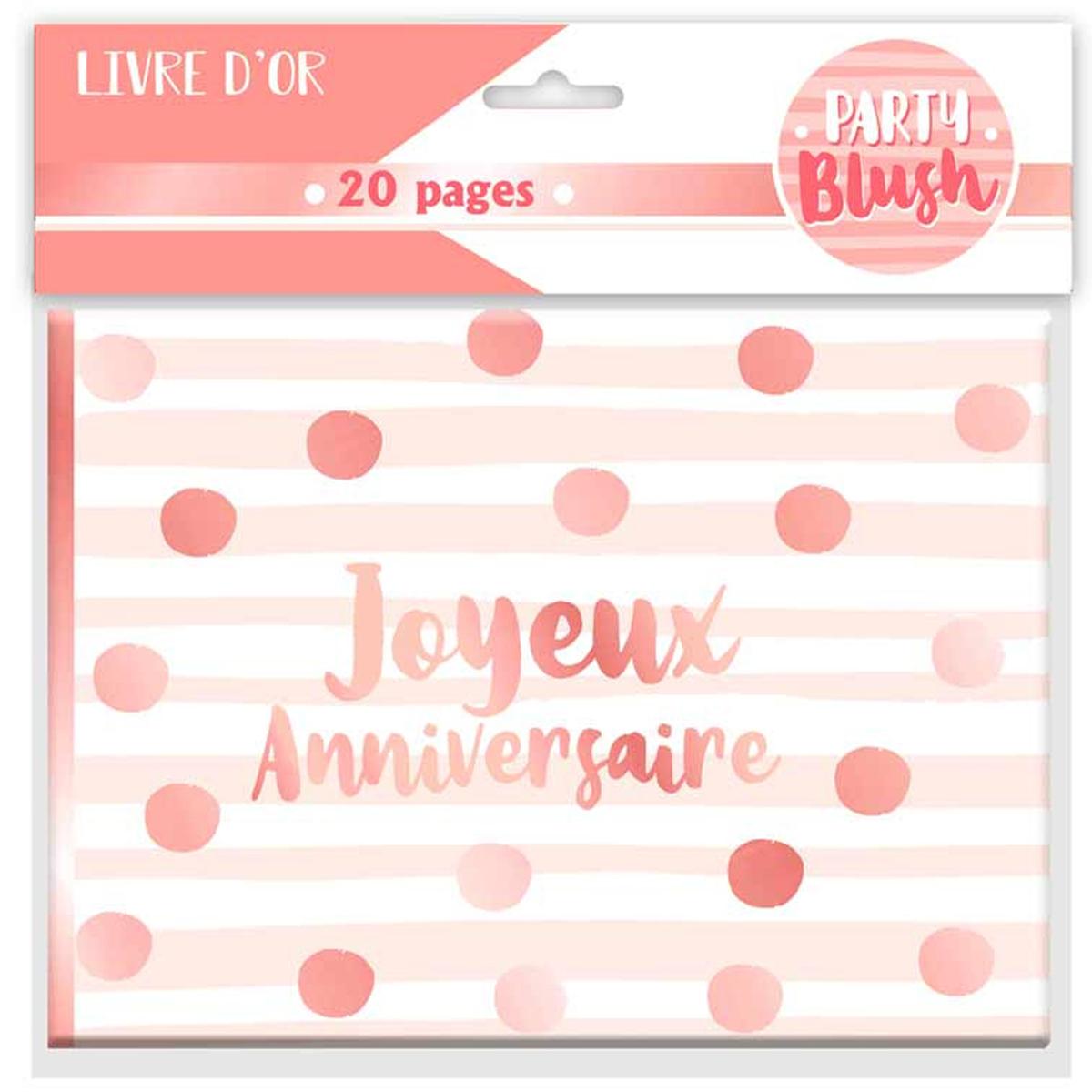 Livre d\'or \'Joyeux Anniversaire\' blanc rosé (blush) - 155x215 cm - [Q9001]