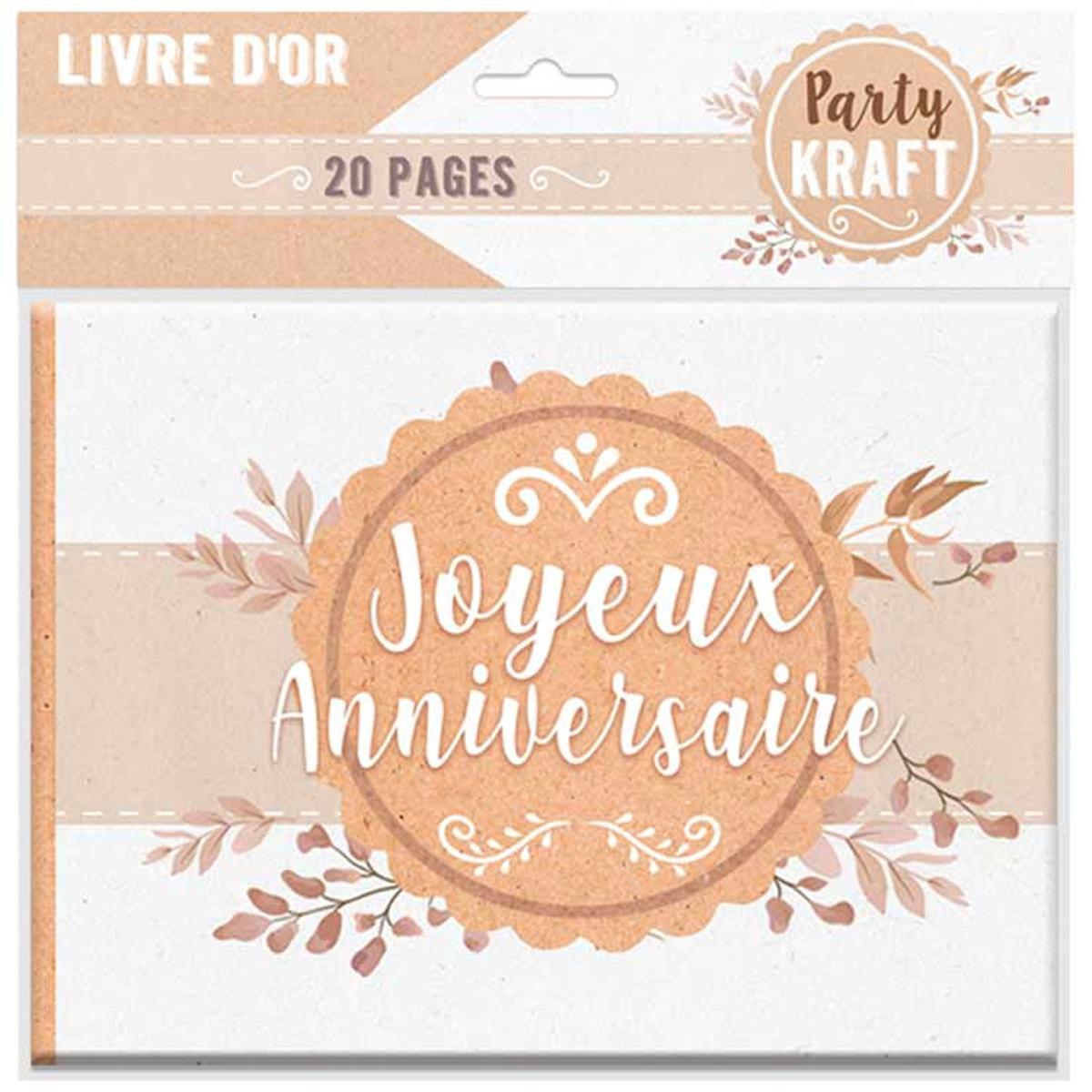 Livre d\'or \'Joyeux Anniversaire\' beige marron (kraft) - 155x215 cm - [Q9002]
