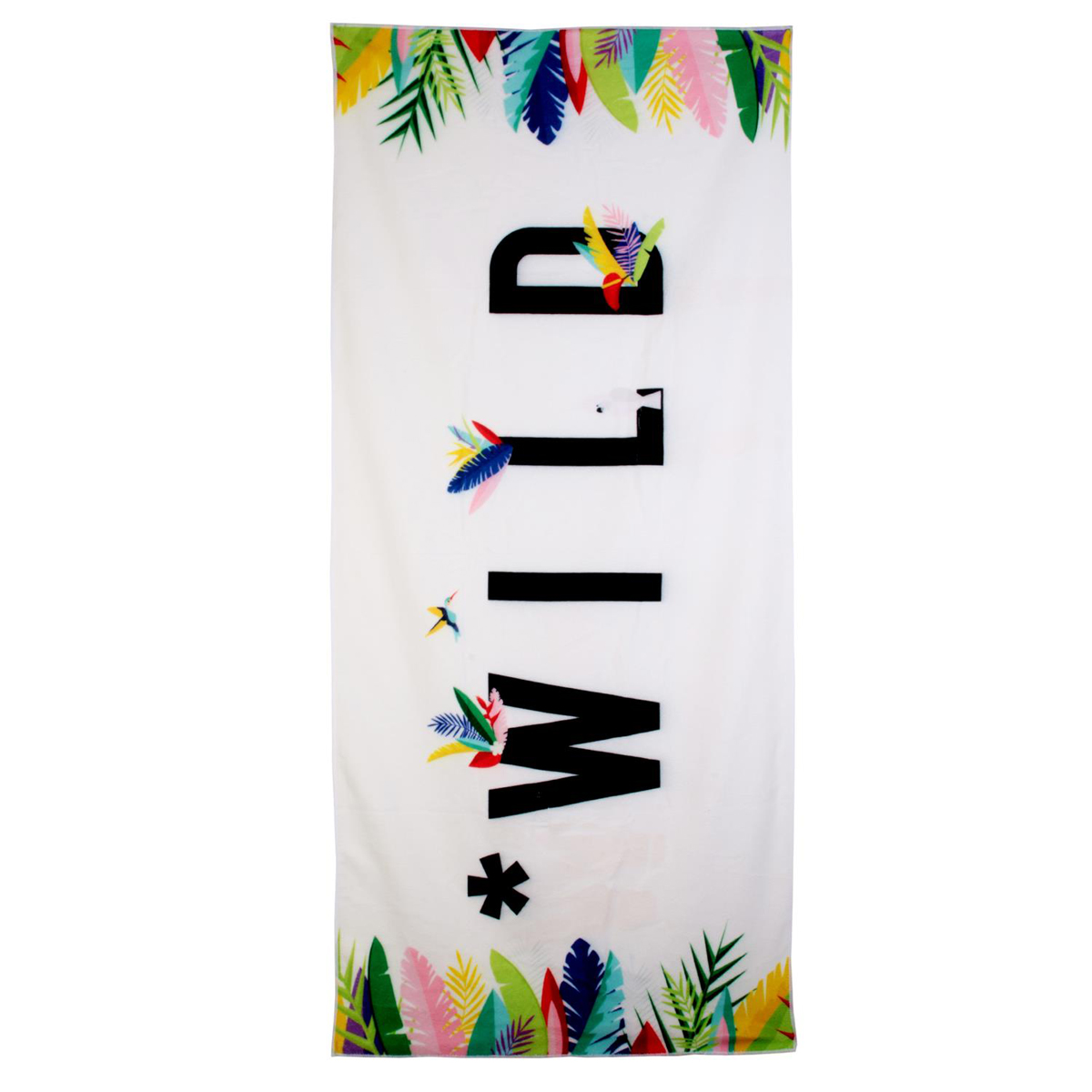Serviette de plage créateur \'Tropical\' blanc multicolore (wild) - 150x70 cm - [Q9031]