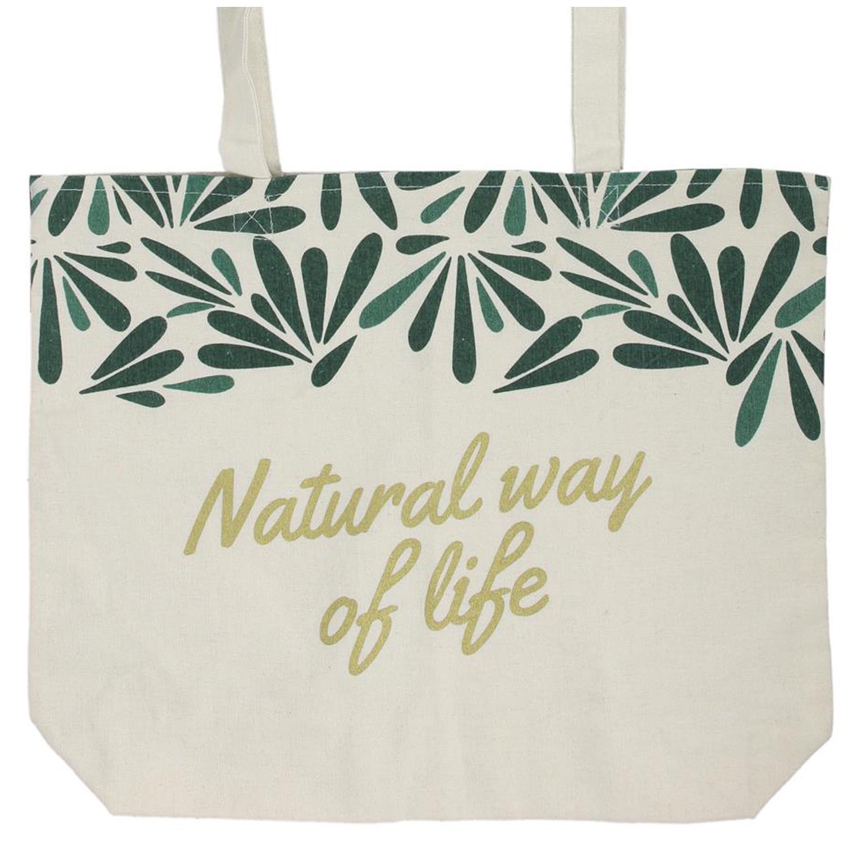 Sac toile \'Jungle\' beige vert (Natural way of life) -  39x32 cm - [Q9033]