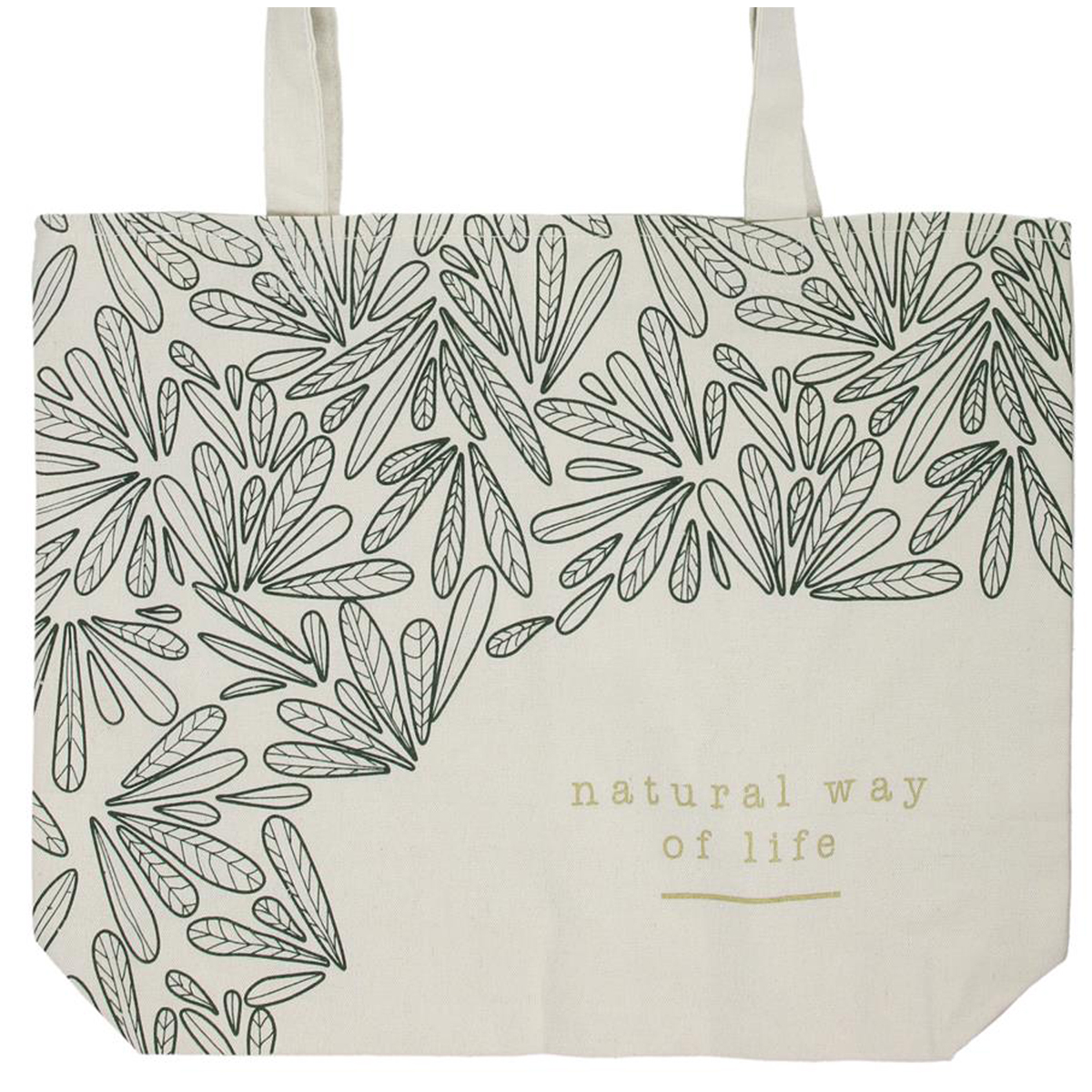 Sac toile \'Jungle\' beige vert (Natural way of life) -  39x32 cm - [Q9034]