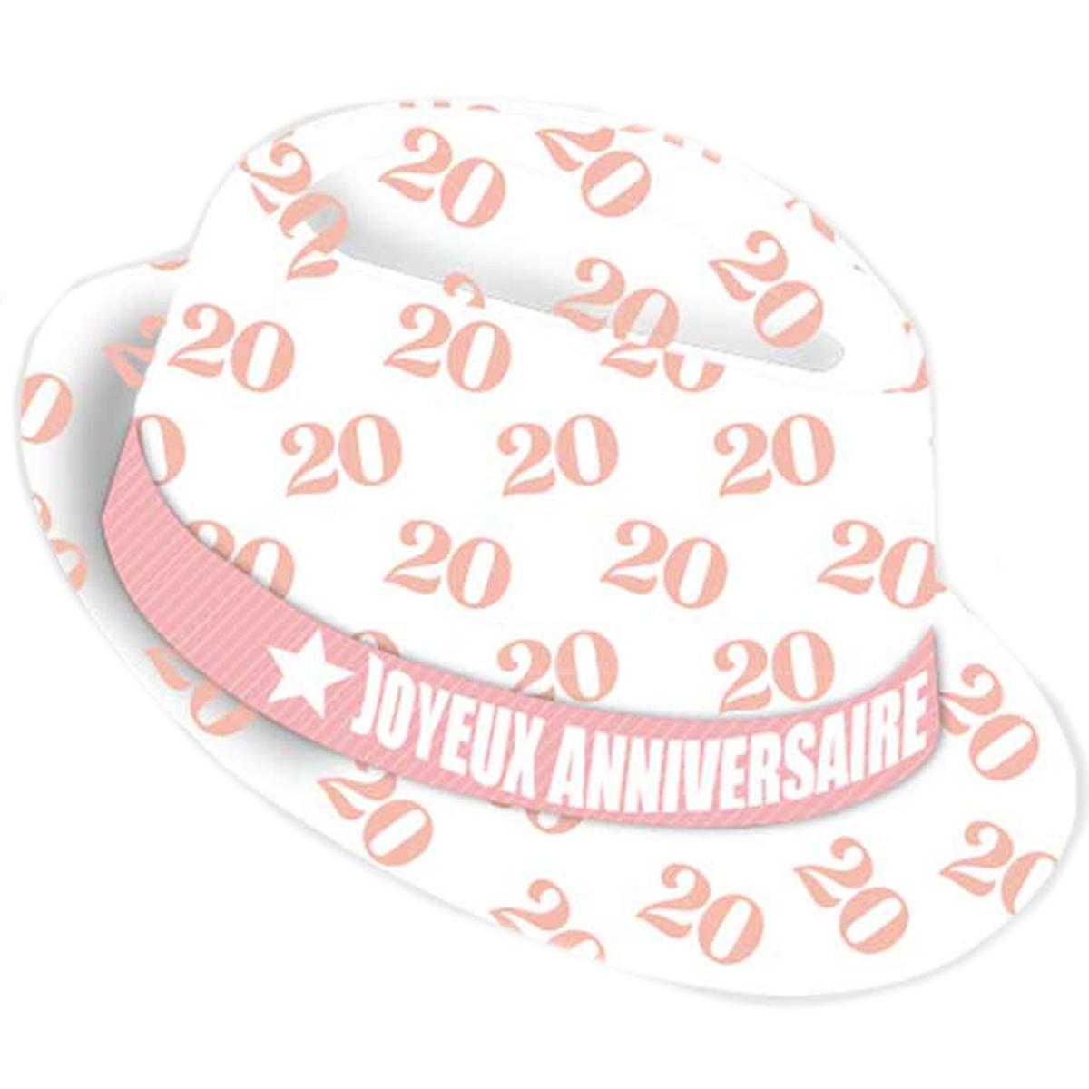 Chapeau anniversaire \'20 ans\' blanc rose - taille unique - [Q9078]