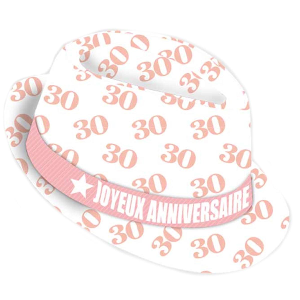 Chapeau anniversaire \'30 ans\' blanc rose - taille unique - [Q9079]