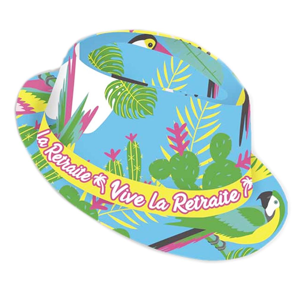 Chapeau borsalino \'Vive la Retraite\' multicolore (tropical) - taille unique - [Q9084]