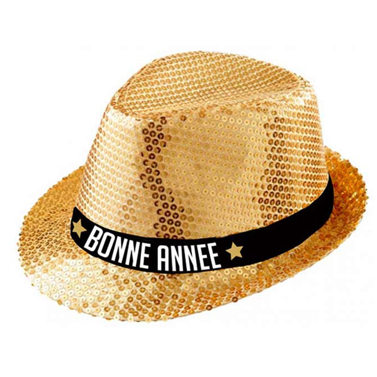 Chapeau borsalino \'Bonne Année\' doré - taille unique - [Q9085]