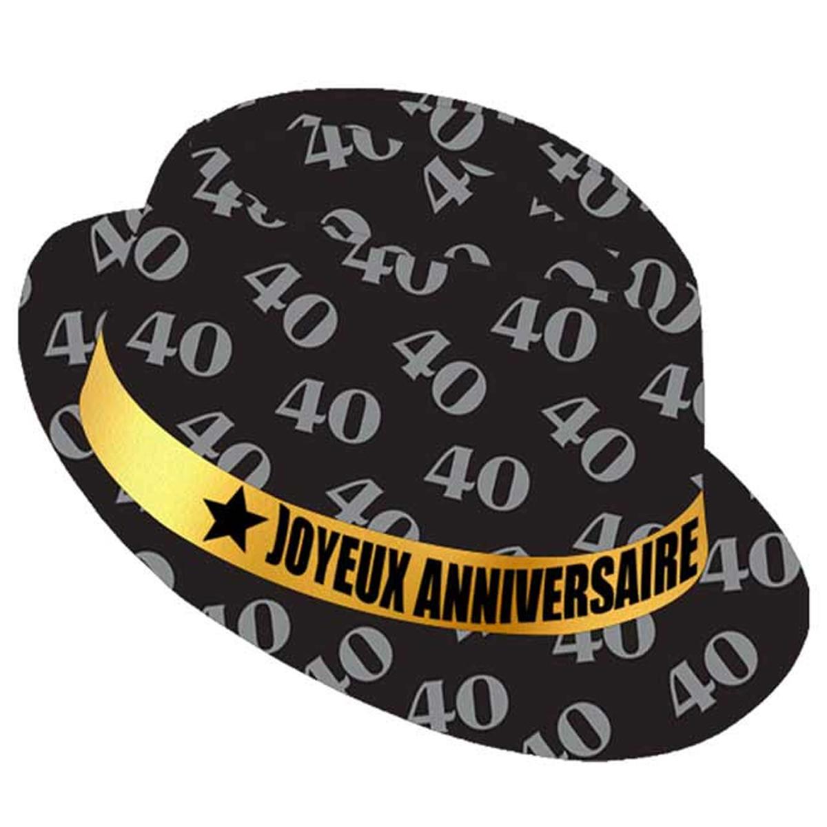 Chapeau anniversaire \'40 ans\' noir doré - taille unique - [Q9089]