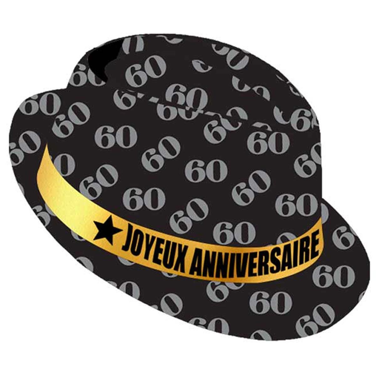 Chapeau anniversaire \'60 ans\' noir doré - taille unique - [Q9091]
