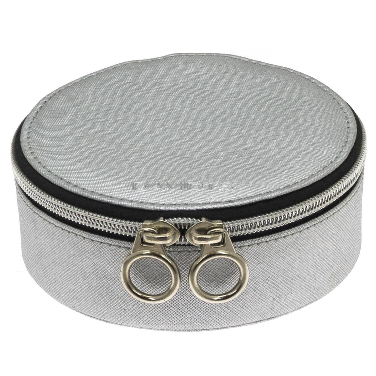 Coffret à bijoux zippé \'Zip\'n go\' gris argenté - 135x7 cm - [Q9143]