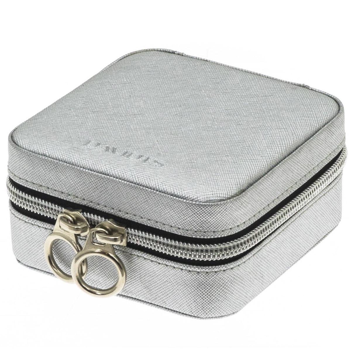 Coffret à bijoux zippé \'Zip\'n go\' gris argenté - 105x105x5 cm - [Q9146]