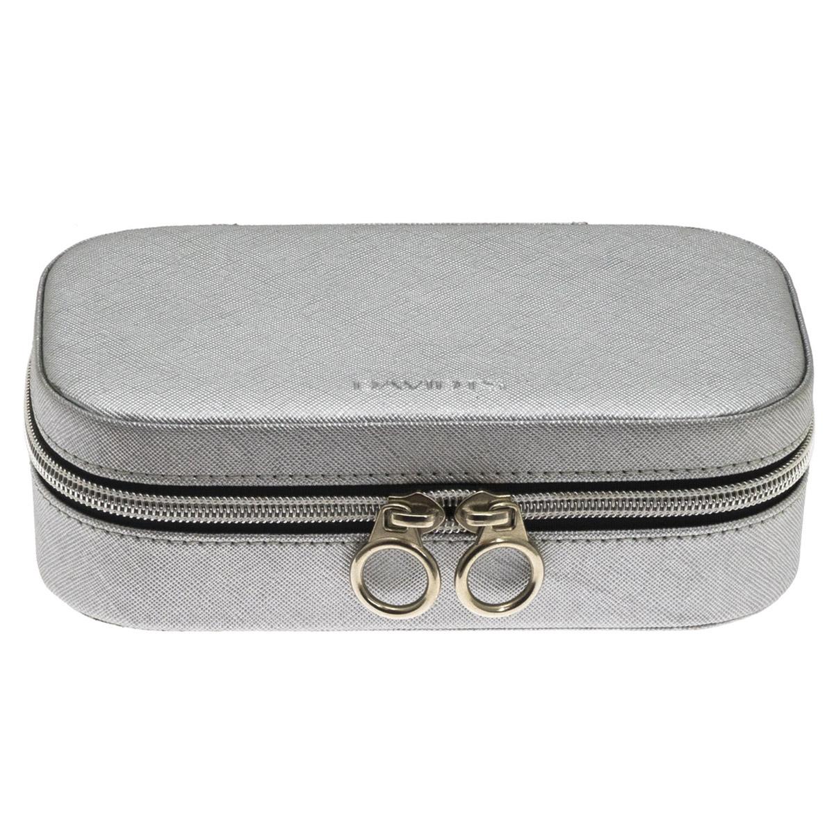 Coffret à bijoux zippé \'Zip\'n go\' gris argenté - 18x103x55 cm - [Q9148]