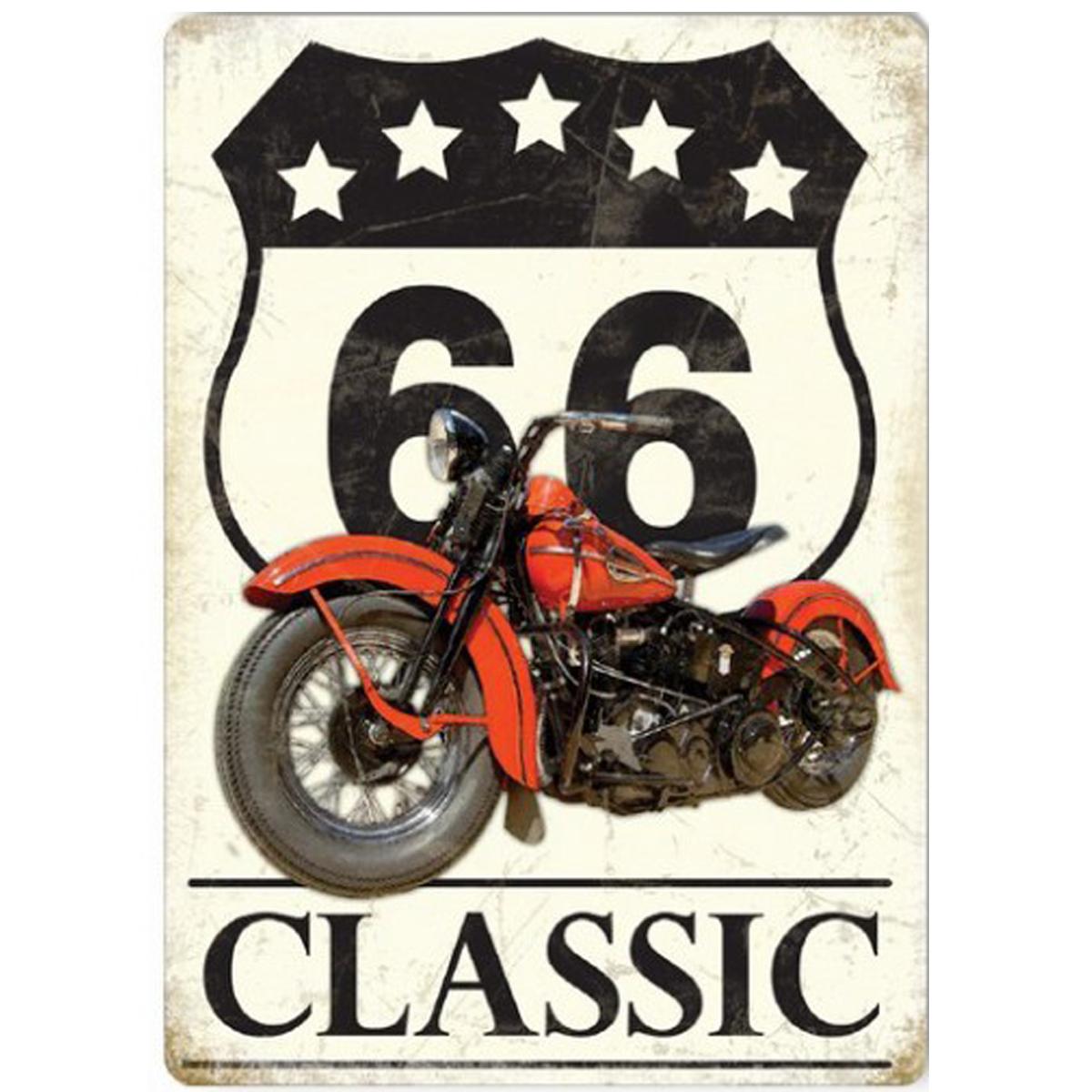 Magnet métal rétro \'Route 66\' (classic) - 9x65 cm - [Q9205]