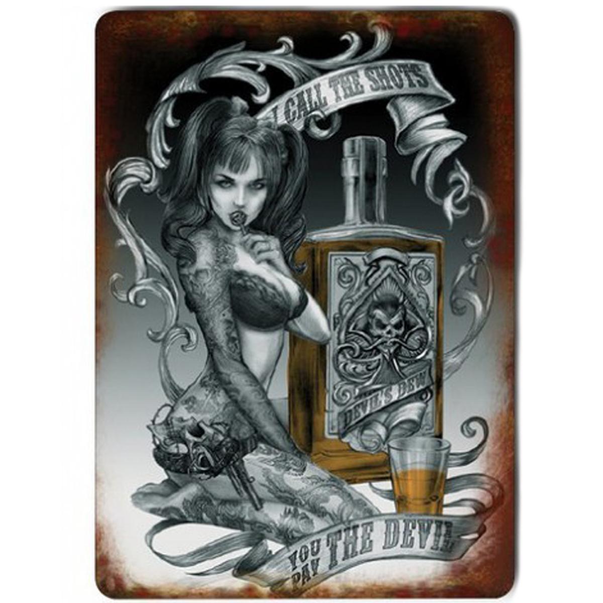 Magnet métal rétro \'You pay the Devil\' tatouage gothique - 9x65 cm - [Q9208]