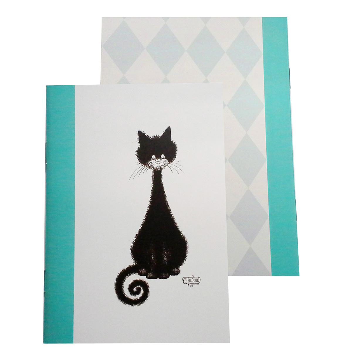 Carnet \'Chats Dubout\' vert blanc noir (chat spirale) - 147x105 cm - [Q9233]