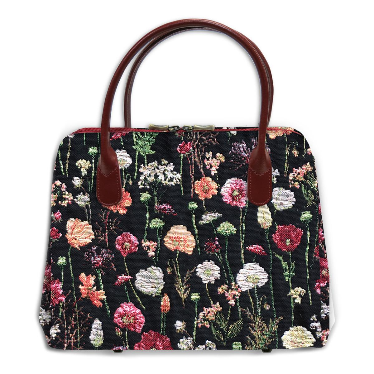 Sac créateur artisanal \'Royal Tapisserie\' noir multicolore (Fleurs en Hiver)  - 30x26x11 cm - [Q9246]