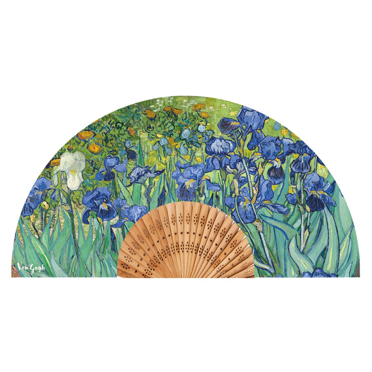 Eventail créateur \'Vincent Van Gogh\' (Iris) - ouvert 37x21 cm - [Q9275]
