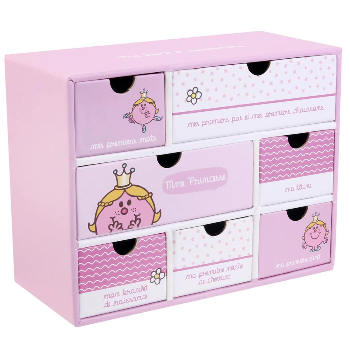 Boite à souvenirs \'Monsieur Madame\' rose (Madame Princesse) - 196x15x9 cm - [Q9317]