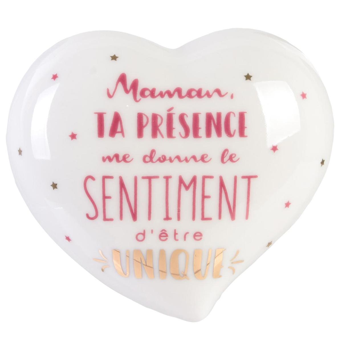 Boite à Bijoux céramique coeur \'Maman\' blanc (Maman ta présence me donne le sentiment d\'être Unique) - 10x95x46 cm - [Q9321]