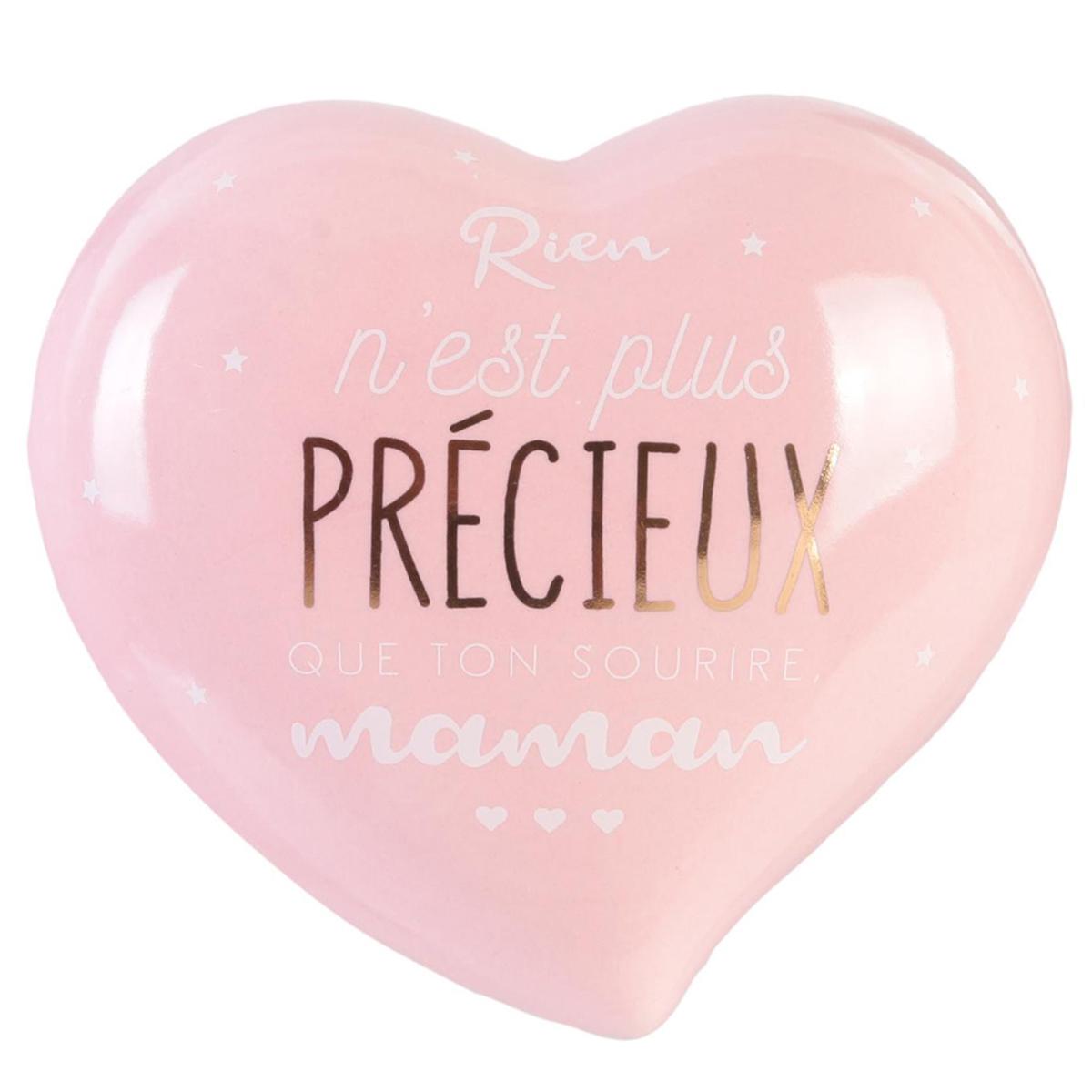Boite à Bijoux céramique coeur \'Maman\' rose (Rien n\'est plus précieux que ton sourire Maman) - 10x95x46 cm - [Q9322]