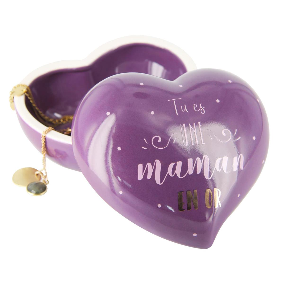 Boite à Bijoux céramique coeur \'Maman\' violet (Tu es une Maman en Or) - 10x95x46 cm - [Q9323]