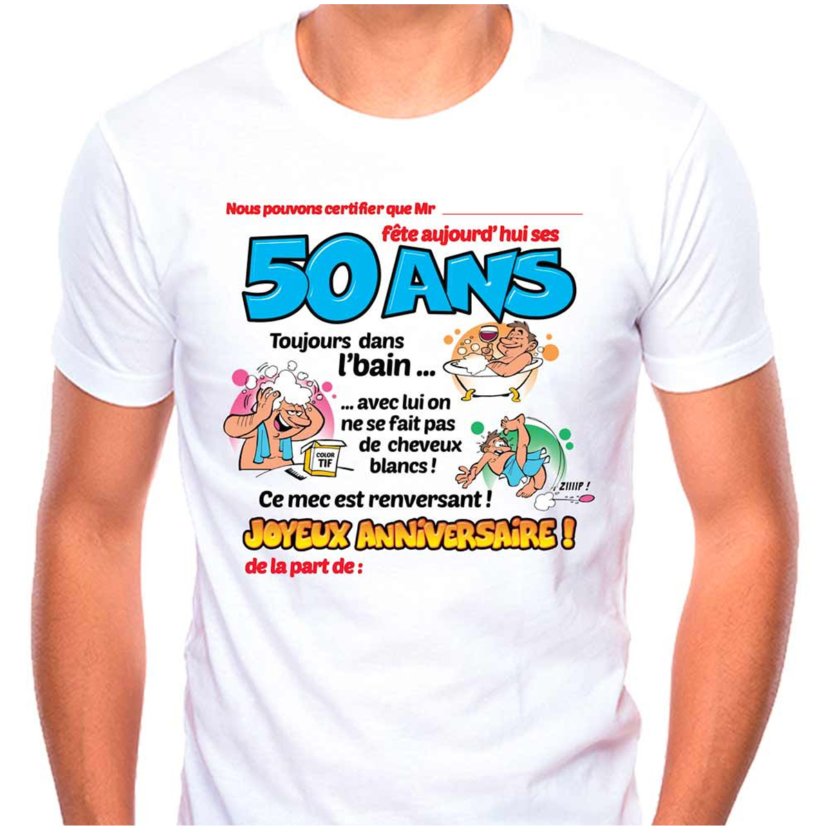 T-shirt coton \'50 ans\' bleu blanc - homme (dédicace) - [Q9503]