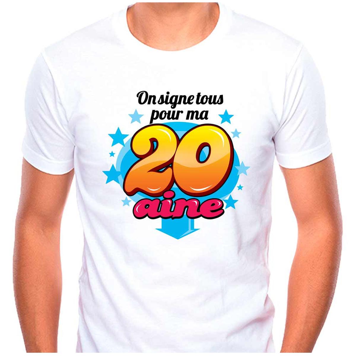 T-shirt coton \'20 aine\' multicolore blanc - (dédicace) - [Q9505]