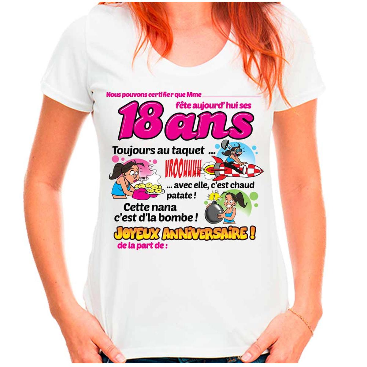 T-shirt coton \'18 ans\' rose blanc - femme (dédicace) - [Q9515]