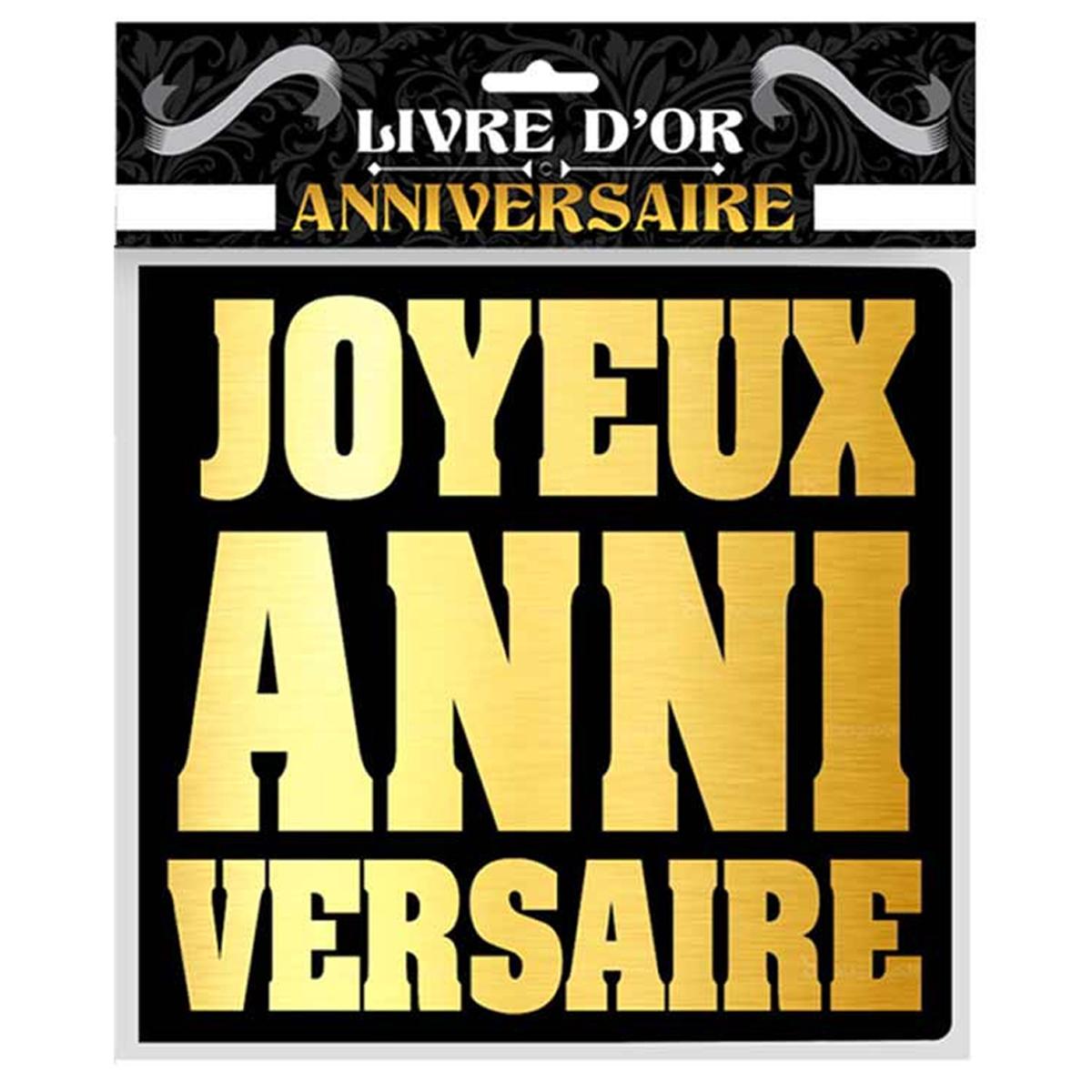 Livre d\'or \'Joyeux Anniversaire\' noir doré - 25x28 cm - [Q9538]