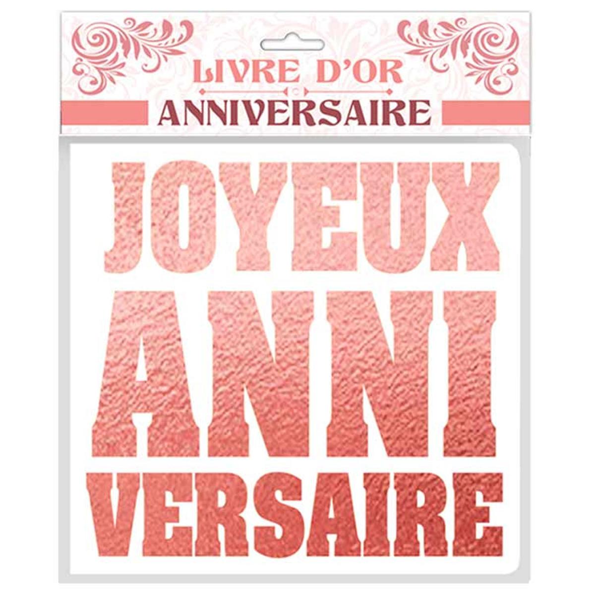 Livre d\'or \'Joyeux Anniversaire\' rosé blanc - 25x28 cm - [Q9539]