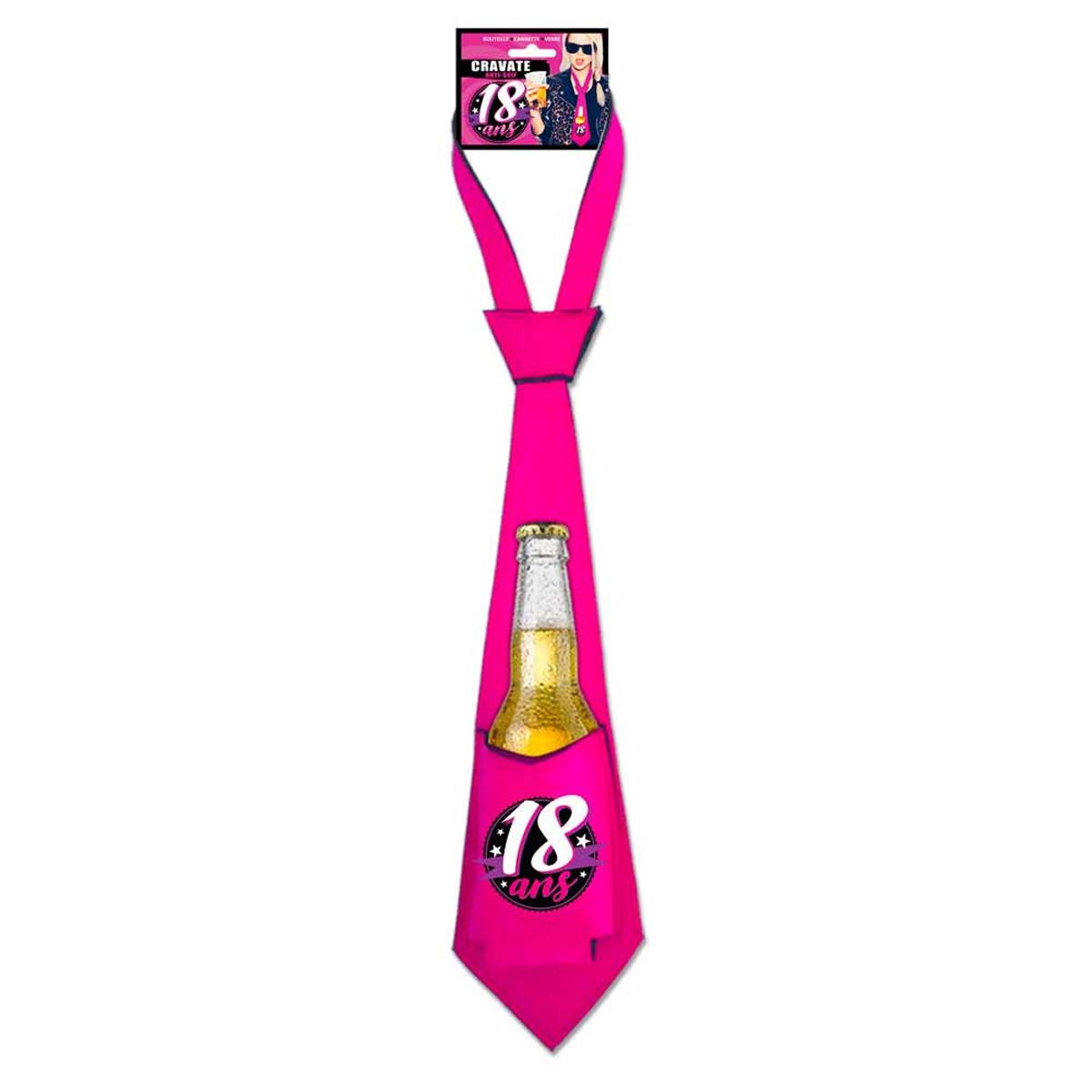 Cravate anti-soif \'18 ans\' rose - 64x12 cm - [Q9540]