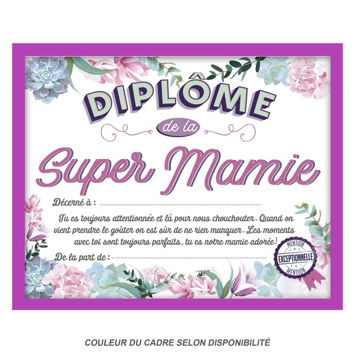 Cadre \'Diplôme de la Super Mamie\' - 25x20x15 cm - [Q9599]