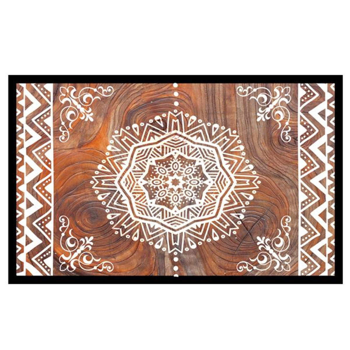 Tapis Intérieur \'Boho\' (mandala) marron blanc - 60x40 cm - [Q9680]