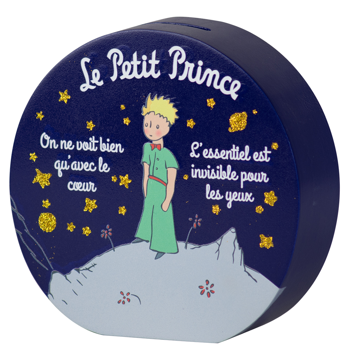 Tirelire bois \'Le Petit Prince\' bleu (rond) - 15x5 cm - [Q9736]