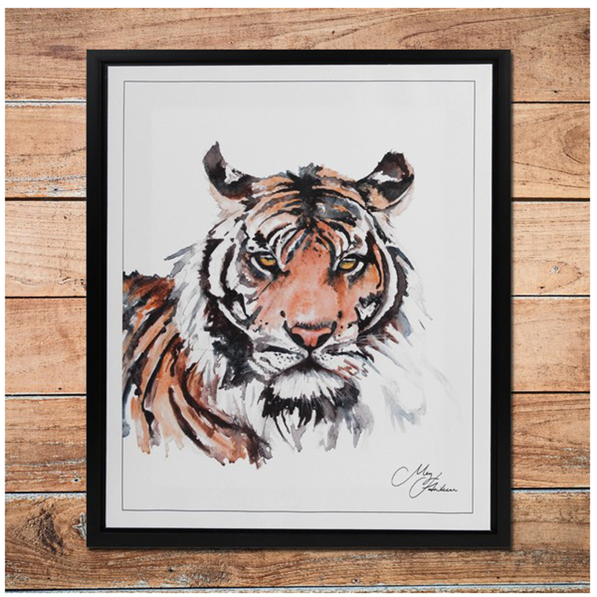 Cadre aquarelle \'Tigre\' marron noir blanc - 50x40 cm - [Q9804]