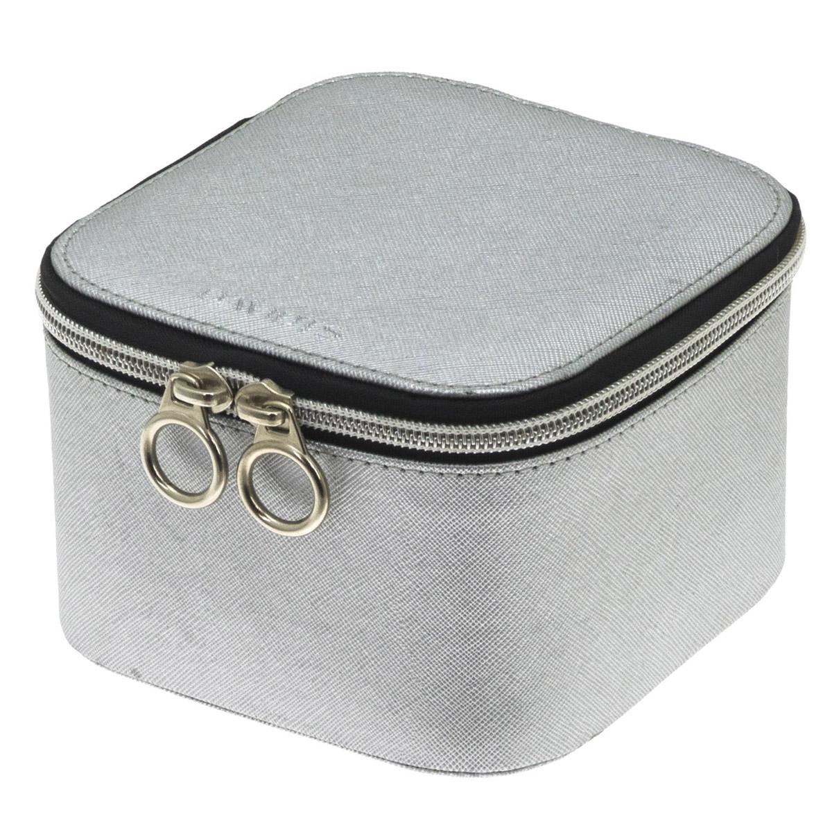 Coffret à bijoux zippé \'Zip\'n go\' gris argenté - 14x14x95 cm - [Q9923]